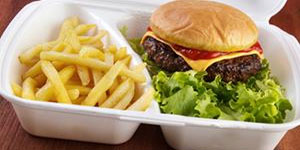 Cheeseburger and fries in a styrofoam container